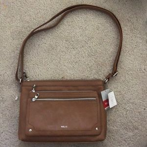 Relic brown adjustable handbag